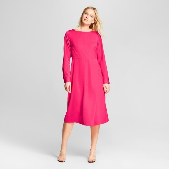 Hot pink long sleeve midi dress Valentine s day 13d74d9f8